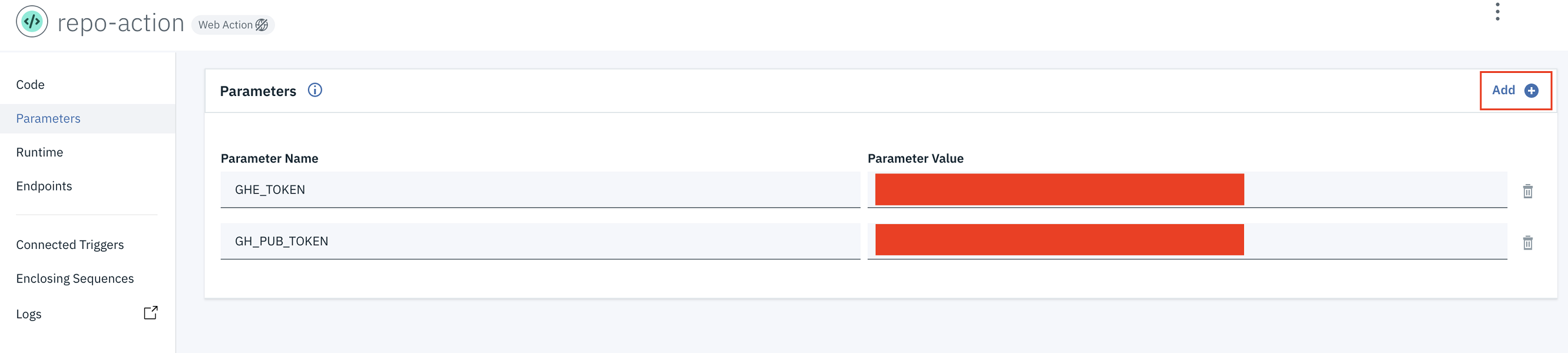screen capture of action parameters