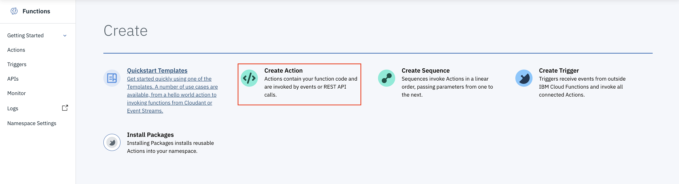 screen capture of creating a serverless action