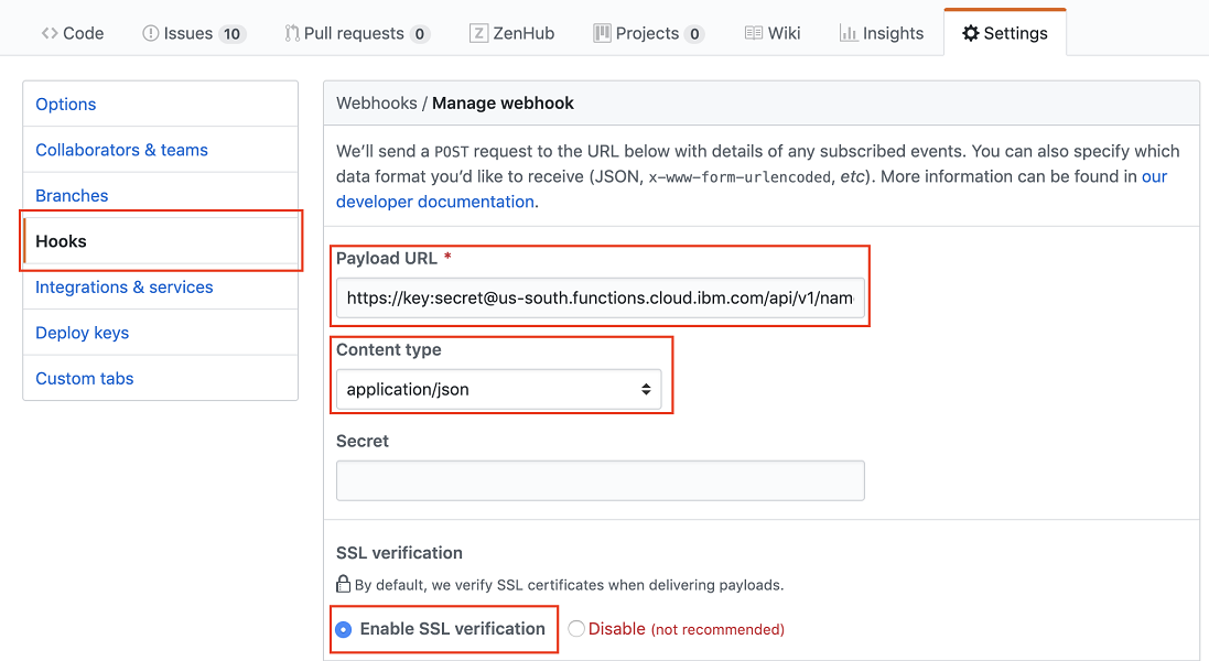 screen capture of webhook setting in GitHub